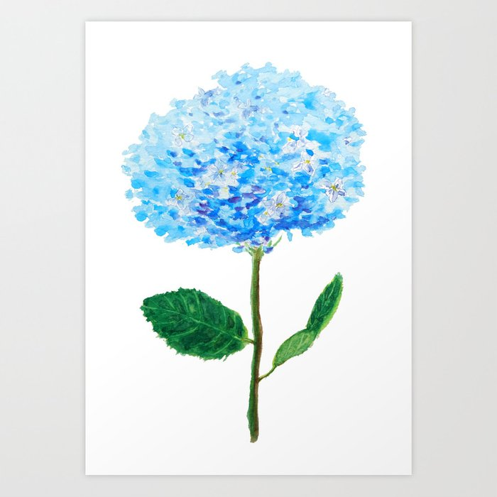 abstract blue hydrangea watercolor Art Print