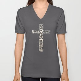 Christian T-Shirt Cross with Names of Jesus in Word Cloud Unisex V-Neck
