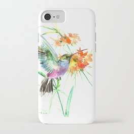 Hummignbird and Flowers iPhone Case