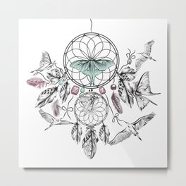 Dreamcatcher Feathers and Flutters Metal Print