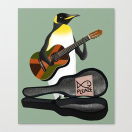 Penguin Busking Canvas Print