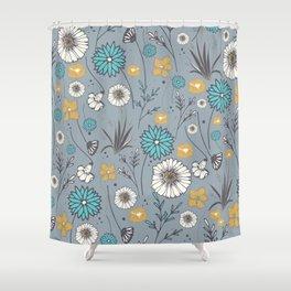 Emma_Wildflowers in Faded Denim Blue Shower Curtain