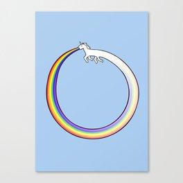 Ouroboros Unicorn Rainbow Vomit Canvas Print