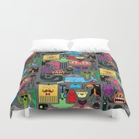 monsters Duvet Covers featuring Monsters by Fran Court
