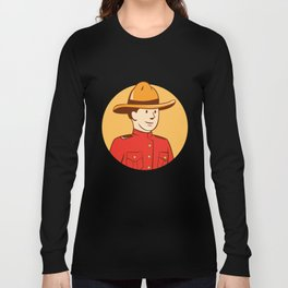 Mounted Police Officer Bust Circle Cartoon Long Sleeve T-shirt