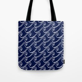 Rough Sea Pattern - white on navy blue Tote Bag