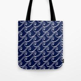 Rough Sea Pattern - white on navy blue Tote Bag