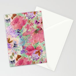 abstract floral pink Stationery Cards