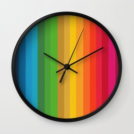Colorful Stripes - Rainbow like design -vertical Wall Clock