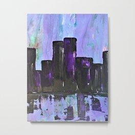 Purple City. Cyber Punk City. Jodilynpaintings Purple City Abstract Metal Print