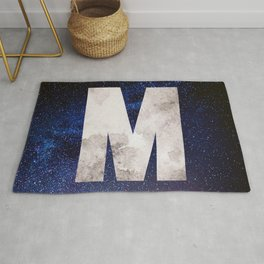 Dark Blue Space Galaxy Initial Monogram Letter M Rug