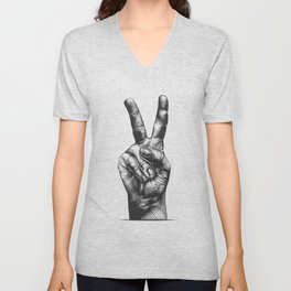 Cool Peace Hand Tees For Boys And Girls Peace And Love Unisex V-Neck