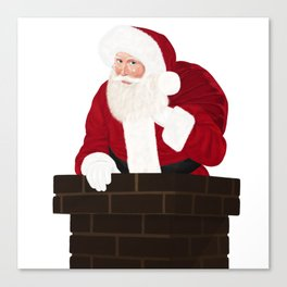 Santa Claus In Chimney Canvas Print