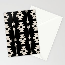 Southwestern Arrow Pattern 252 Black and Linen White Stationery Cards