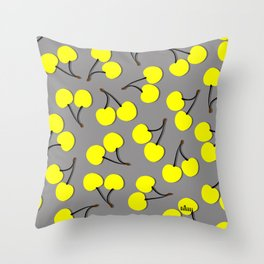 Yellow Sweet Cherry Throw Pillow