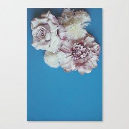 Pale Flowers on blue Canvas Print