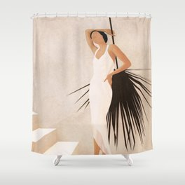 Minimal Woman with a Palm Leaf Shower Curtain