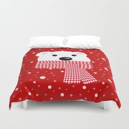 Muzzle of a polar bear on a red background. Duvet Cover