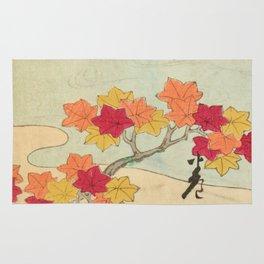 Vintage Japanese Maple Leaf and River Print Rug