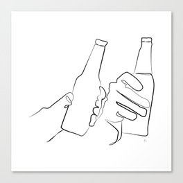 """"""" Kitchen Collection """" - Two Hands Holding Beer Bottles Canvas Print"""