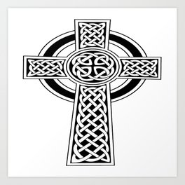St Patrick's Day Celtic Cross Black and White Art Print