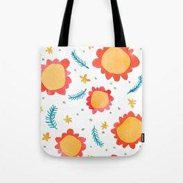 Painted Flowers orange Tote Bag