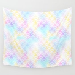 Pale Pink Mermaid Tail Abstraction. Pastel Magic Fish Scale Pattern Wall Tapestry