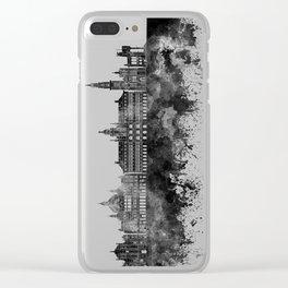 Antwerp skyline in black watercolor Clear iPhone Case