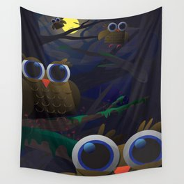 Here Be Owls Wall Tapestry