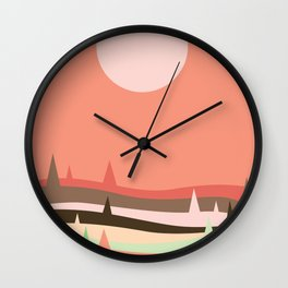 Abstraction Landscape 2 Pink Moon Wall Clock