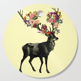 Spring Itself Deer Floral (Cream) Cutting Board