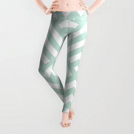 Turquoise Blue geometric art deco diamond pattern Leggings