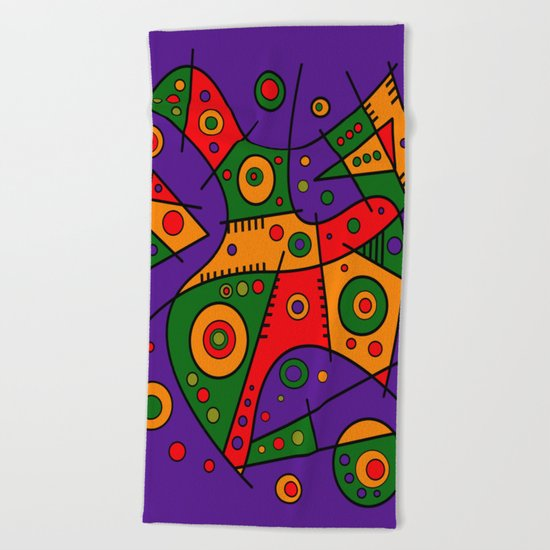 Abstract #240 Pizza Party Beach Towel