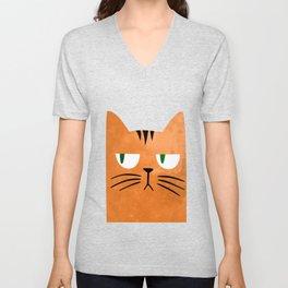 Orange cat with attitude Unisex V-Neck