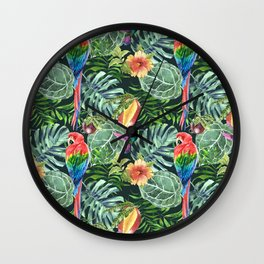 Colorful diverse tropical seamless pattern of watercolor from leaves, fruits, flowers and birds Wall Clock