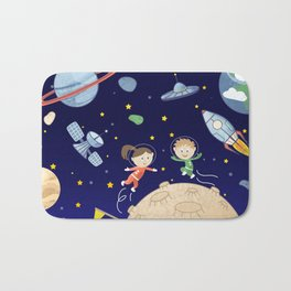 Space kids astronauts planets asteroids and spaceships Bath Mat
