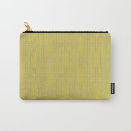 Simply Mid-Century Retro Gray on Mod Yellow Carry-All Pouch