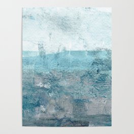 Moody Minimalist Abstract Seascape Painting Poster