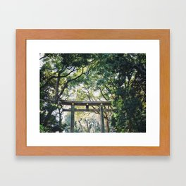 Torii Gate at Meiji Jingu Shrine in Tokyo Framed Art Print
