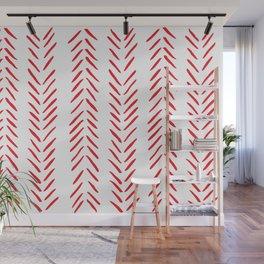 Red and White Herringbone Print Wall Mural