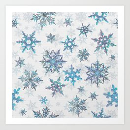 """""""Embroidered"""" Snowflakes on white canvas Art Print"""