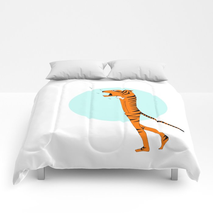 Tiger and raindrops Comforters