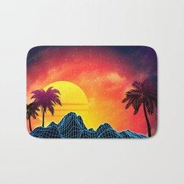 Sunset Vaporwave landscape with rocks and palms Bath Mat