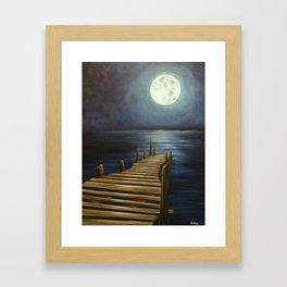 Moonlit night at the Dock Framed Art Print