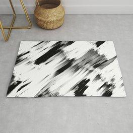 Modern Abstract Black White Brushstroke Art Rug