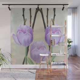 Artistic Pastel Spring Tulips Wall Mural
