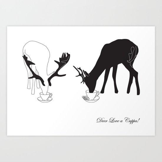 Deer love a Cuppa! Deer products, woodland illustration, animal lovers, deer gifts, Art Print