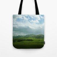 kendrick lamar Tote Bags featuring lamar valley by Sarah Stewart