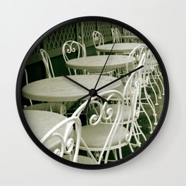 Cafe Table and Chairs - sepia Wall Clock