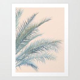 Tropical Palms on Blush Pink, Boho Nature Photography Art Print